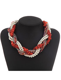 Bohemian Red Pearl Decorated Weave Design Alloy Beaded Necklaces