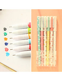 Personality Multi-color Ink Dot Pattern Decorated Simple Design Plastic Writing Pens