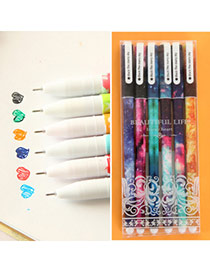 Personality Multi-color Ink Star Pattern Decorated Simple Design Plastic Writing Pens