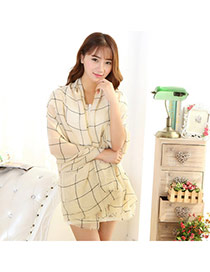 Pretty Khaki Grid Pattern Decorated Simple Design