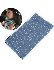 Pretty Denim Blue Star Pattern Decorated Simple Design  Cotton Thin Scaves