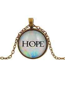 Retro Multi-color Round Shape Pendant Small Hope Letter Pattern Design