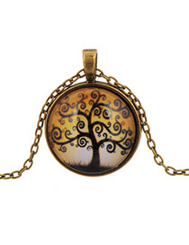 Retro Yellow Round Shape Pendant Cartoon Tree Pattern Design