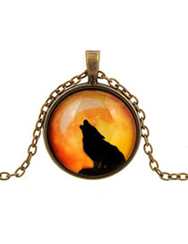 Retro Orange+black Round Shape Pendant Wolf Pattern Design