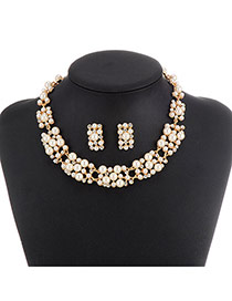 Classic White Pearl Decorated Simple Design Alloy Jewelry Sets