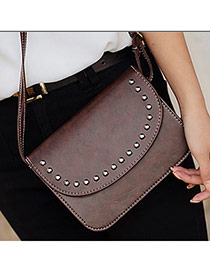 Retro Brown Rivet Decorated Pure Color Design  Pu Messenger bags