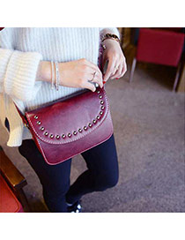 Retro Red Rivet Decorated Pure Color Design  Pu Messenger bags
