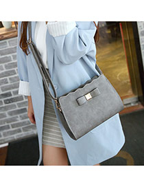 Elegant Gray Bowknot Decorated Pure Color Design  Pu Messenger bags