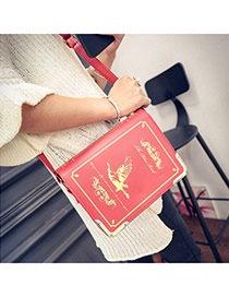Personality Red Bird Pattern Decorated Dictionary Shape Design  Pu Messenger bags