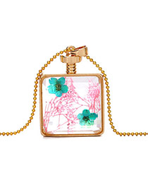 Elegant Greeb+pink Two Flower Decorated Square Perfume Bottle Pendant Design Alloy Chains