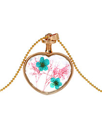 Elegant Green+pink Two Flower Pattern Decorated Heart Shape Perfume Bottle Pendant Design Alloy Chains