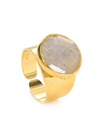 Personality White Stone Decorated Simple Design(adjustable)  Alloy Korean Rings