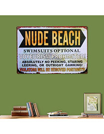 Nostalgic Gray Letter Nude Beach Decorated Metal Painting