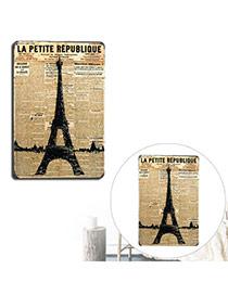 Nostalgic Yellow+black Eiffel Tower Pattern Decorated Metal Painting