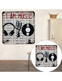 Nostalgic Gray Microphone & Letter Pattern Decorated Metal Painting