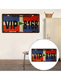 Nostalgic Blue+red Letter Vip8168 Decorated Metal Painting Iron Household goods