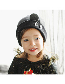 Lovely Black Eyes Pattern Decorated Simple Design  Wool Children's Hats