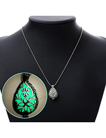 Personality Blue Hollow Out Waterdrop Shape Pendant Decorated Noctilcent Design Alloy Korean Necklaces