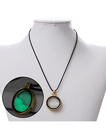 Personality Green Round Shape Pendant Decorated Noctilcent Design Alloy Korean Necklaces