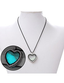 Personality Light Blue Heart Shape Pendant Decorated Noctilcent Design Alloy Chains