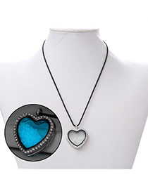 Personality Blue Heart Shape Pendant Decorated Noctilcent Design Alloy Chains