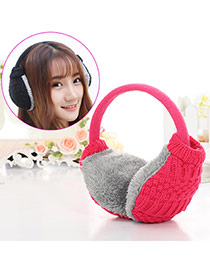 Fashion Plum Red Color Matching Weave Simple Design Wool Fashion earmuffs