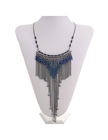 Exaggerate Sapphire Blue Beads&chian Decorated Tassel Design  Alloy Fashion Necklaces