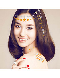 Personality Gold Color+silver Color Star Pattern Flash Sheet Temporary Hair Sticker Paper Tattoos body Art