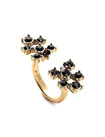 Exquisite Black Gemstone Decorated Open Design Alloy
