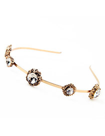 Retro Gold Color Round Shape Diamond Decorated Simple Design  Alloy Hair band hair hoop