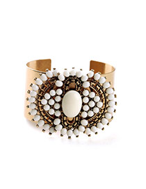 Extravagant White Beads &diamond Decorated Open Design Alloy Fashion Bangles