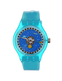 Fashion Blue Outer Space Pattern Decorated Round Shape Case Design Silicone Ladies Watches