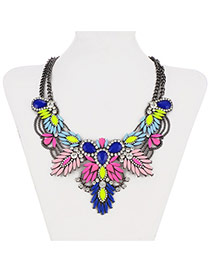 Retro Multicolor Gemstone Decorated Double Layer Design Alloy Bib Necklaces