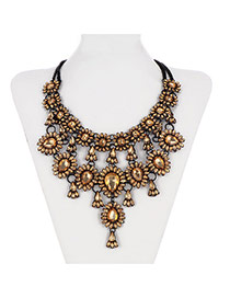 Retro Yellow Waterdrop Shape Gemstone Decorated Multilayer Design Alloy Bib Necklaces