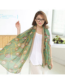 Fashion Green Clock Pattern Decorated Simple Design Cotton Thin Scaves