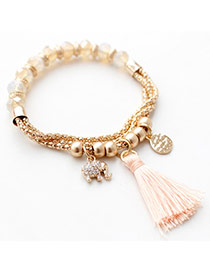Fashion Pink Elephant Pendant Decorated Tassel Design Alloy Fashion Bracelets