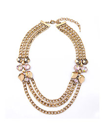 Personality Gold Color Geometry Decorated Multicolor Design Alloy Bib Necklaces