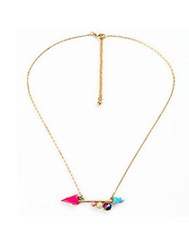 Personality Gold Color Triangle Shape Decorated Simple Design Alloy Bib Necklaces