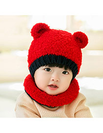 Lovely Red Ears Decorated Color Matching Design With Scarf