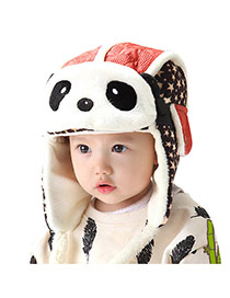 Lovely Red Star Pattern Decorated Panda Shape Design  Cotton Children's Hats