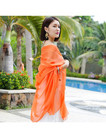 Simplicity Orange Pure Color Decorated Simple Design Chiffon Thin Scaves