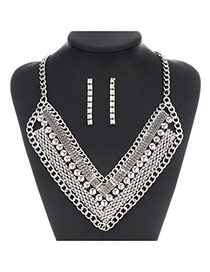 Exaggerate Silver Color Chain Weave Decorated V Shape Design
