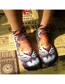 Retro Brown Tiger Pattern Decorated 3d Effect Design  Spandex Fashion Socks