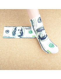 Retro White+green Dollars Pattern Decorated 3d Effect Design  Spandex Fashion Socks