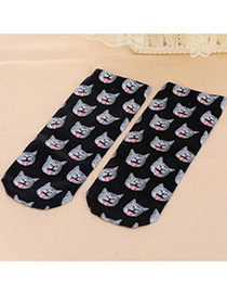 Retro Black Cat Pattern Decorated 3d Effect Design  Spandex Fashion Socks