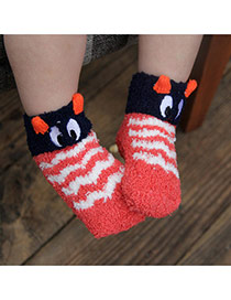 Lovely Red Cartoon Owl Pattern Decorated Simple Design For Kids  Coral Velvet Fashion Socks