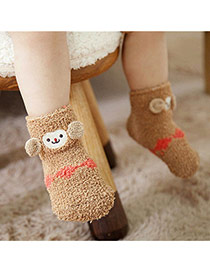 Lovely Brown Cartoon Monkey Pattern Decorated Simple Design For Kids  Coral Velvet Fashion Socks