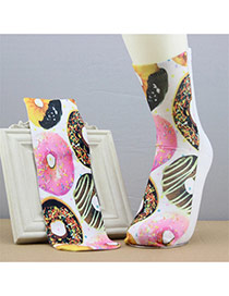 Retro Multicolor Doughnut Pattern Decorated 3d Effect Design  Spandex Fashion Socks