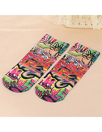 Retro Multicolor Graffiti Pattern Decorated 3d Effect Design  Spandex Fashion Socks