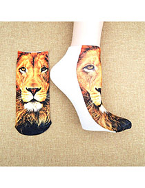 Retro Brown+white Lion Pattern Decorated 3d Effect Design  Spandex Fashion Socks